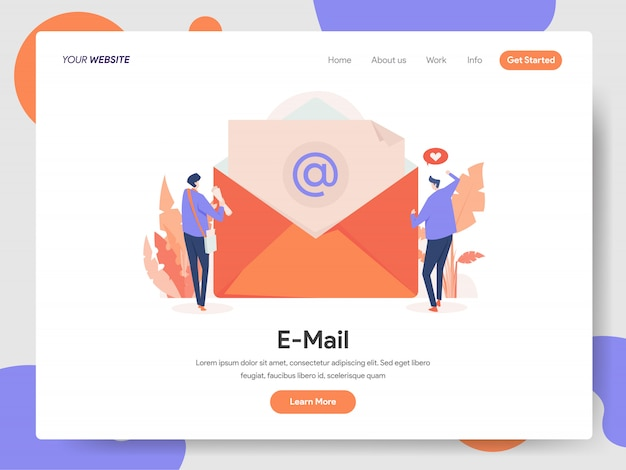 E-mail banner of landing page Premium Vector