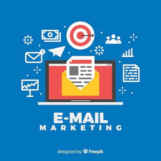 E-mail marketing background Free Vector