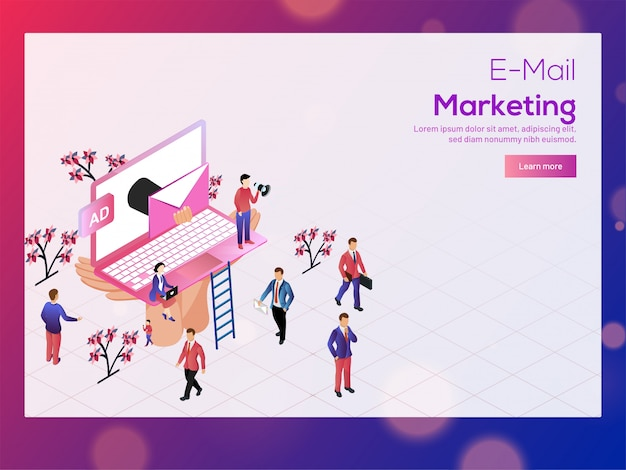 E-mail marketing concept. Premium Vector