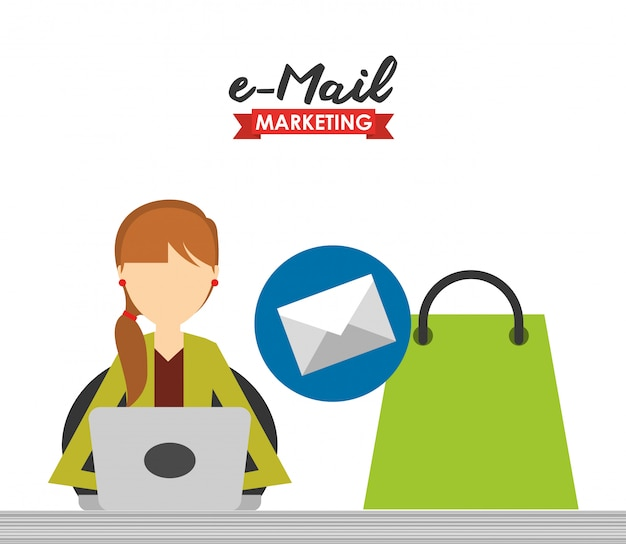 E-mail marketing illustration Free Vector