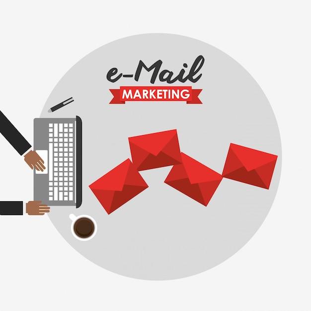 E-mail marketing illustration Free Vector
