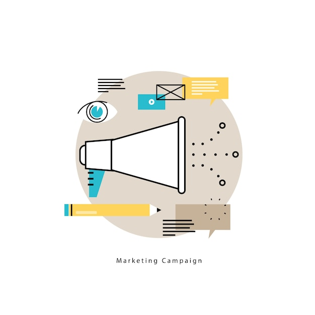E-mail marketing, online advertising flat vector illustration design. product and services promotion, marketing campaigns, online communication design for mobile and web graphics Premium Vector