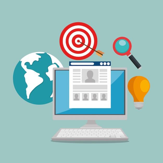 E-mail marketing set icons Free Vector
