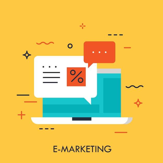 E-marketing concept Premium Vector