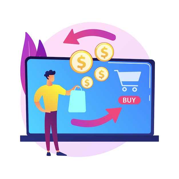 E shopping cartoon web icon. online store, cashback service, money returning. financial refund idea. return on investment. internet income Free Vector