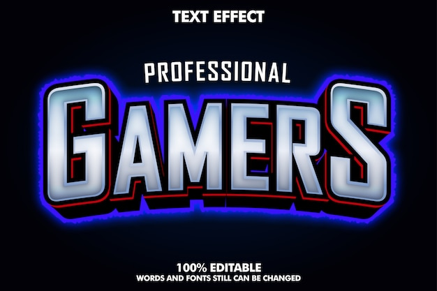 E-sport gamers text effect with blue light outline Free Vector