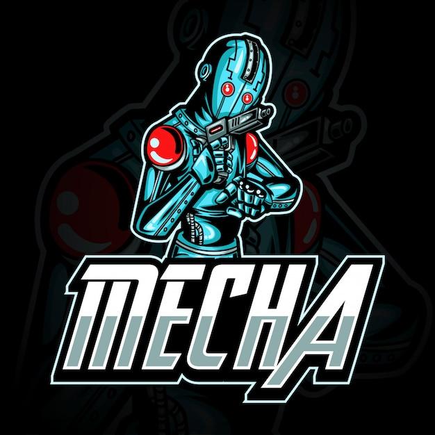 Логотип e-sport gaming или иллюстрация талисмана, представляющая робота blue metalic с пистолетом в руке Premium векторы