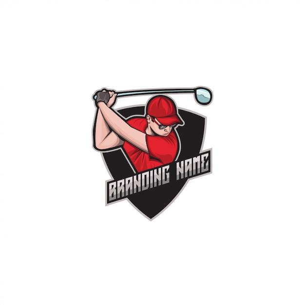 E-sport golf logo Premium векторы