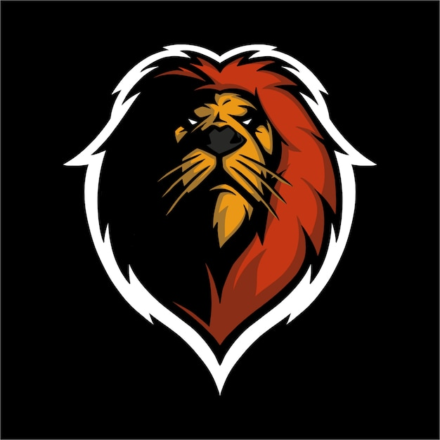 E sport logo lion head Premium Vector