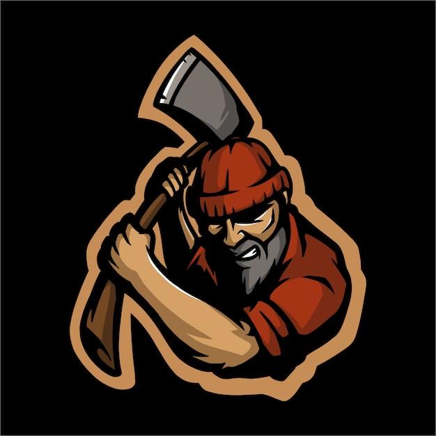 E sport logo lumberjack and his ax Premium Vector