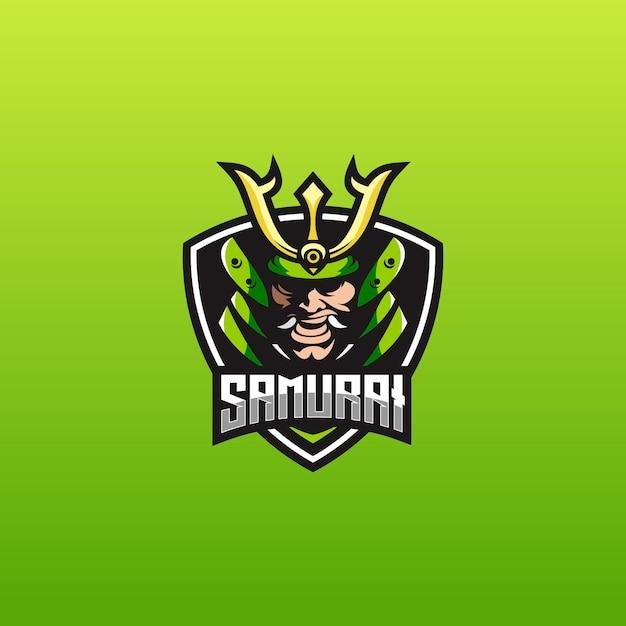 E sport logo template with samurai Premium Vector