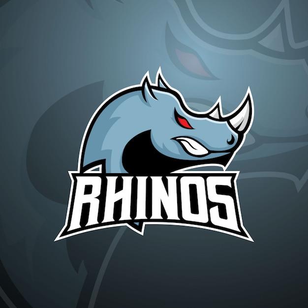 Голова носорога для логотипа e sport mascot Premium векторы
