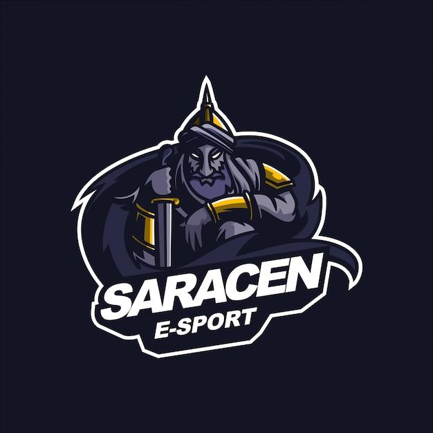 Шаблон логотипа талисман игровой талисман e-sport арабский рыцарь Premium векторы