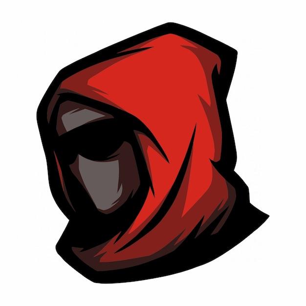 E sport логотип красный капюшон Premium векторы