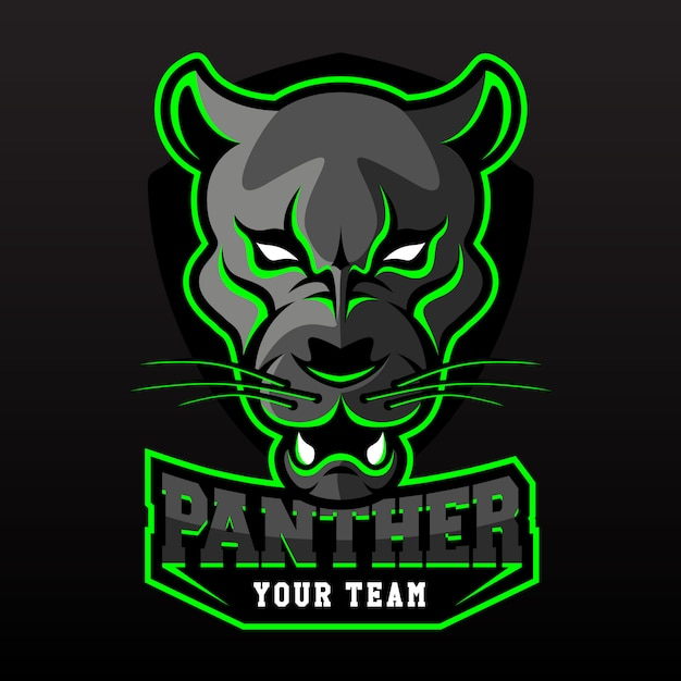 E-sports team logo template with black panther Premium Vector