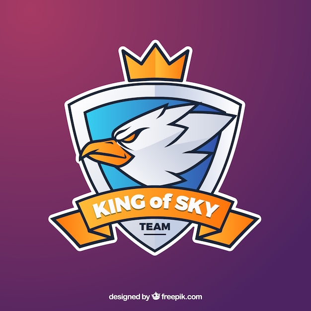 E-sports team logo template with eagle Free Vector