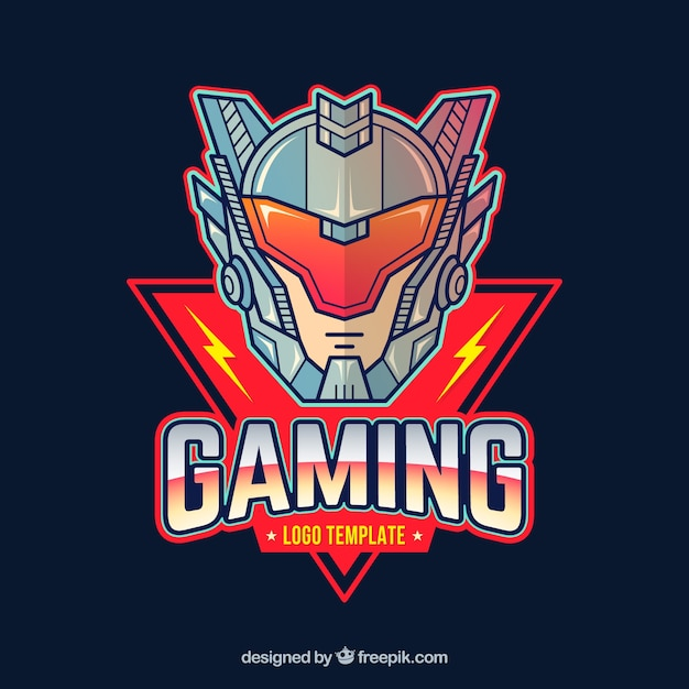 E-sports team logo template with futuristic knight Free Vector