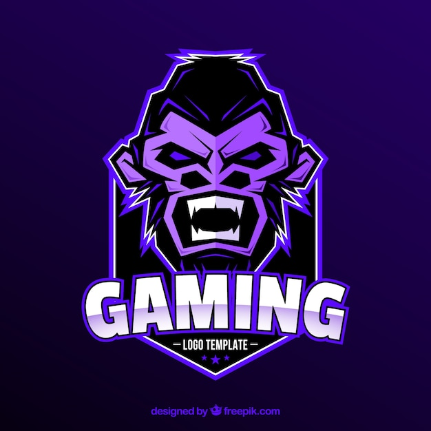 E-sports team logo template with gorilla Free Vector