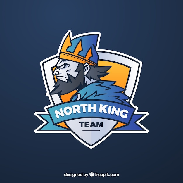 E Sports Team Logo Template With King Free Vector
