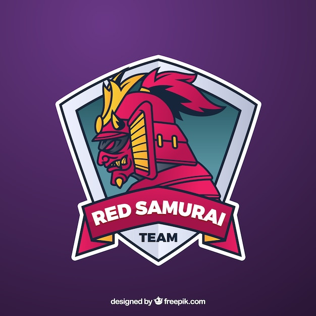 E-sports team logo template with samurai Free Vector