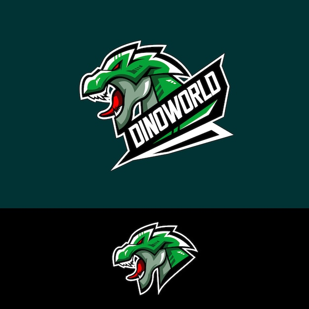 E-sports team logo with dino Premium Vector