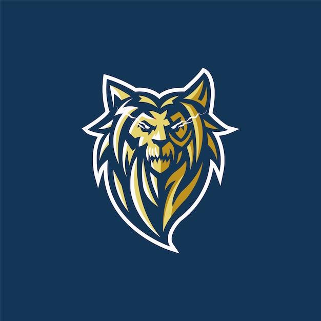 E-sports team logo with lion head Premium Vector