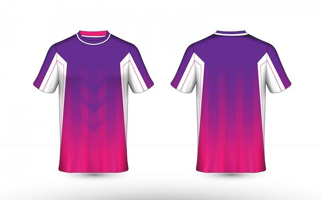 紫、ピンク、白のレイアウトeスポーツtシャツデザインテンプレート Premiumベクター