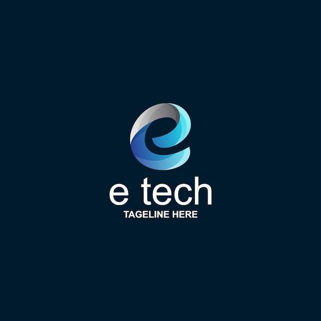 E tech logo Premium Vector