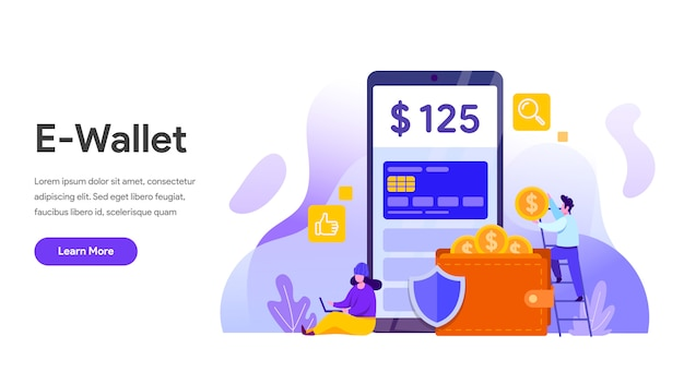 E-wallet concept with mobile phone for landing page, website, homepage Premium Vector