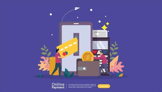 小さな人々のキャラクターとオンラインイラストショッピングeコマース市場のモバイル決済または送金の概念。 webランディングページ、バナー、プレゼンテーション、ソーシャルメディア、印刷メディア用のテンプレート Premiumベクター