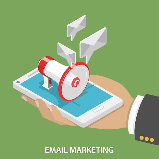 Eメールマーケティングフラット等尺性 Premiumベクター
