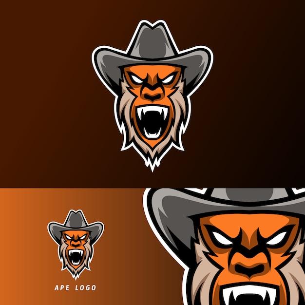 怒っているサルゴリラスポーツeスポーツロゴテンプレートデザインのひげと帽子 Premiumベクター