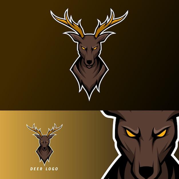 長い角を持つ怒っている鹿スポーツeスポーツのロゴのテンプレート Premiumベクター