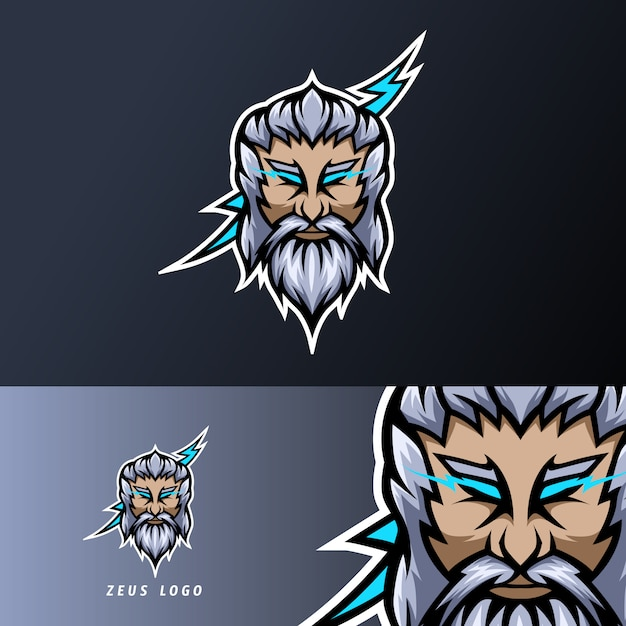 ゼウス神雷マスコットスポーツeスポーツのロゴのテンプレート厚いひげ口ひげ Premiumベクター