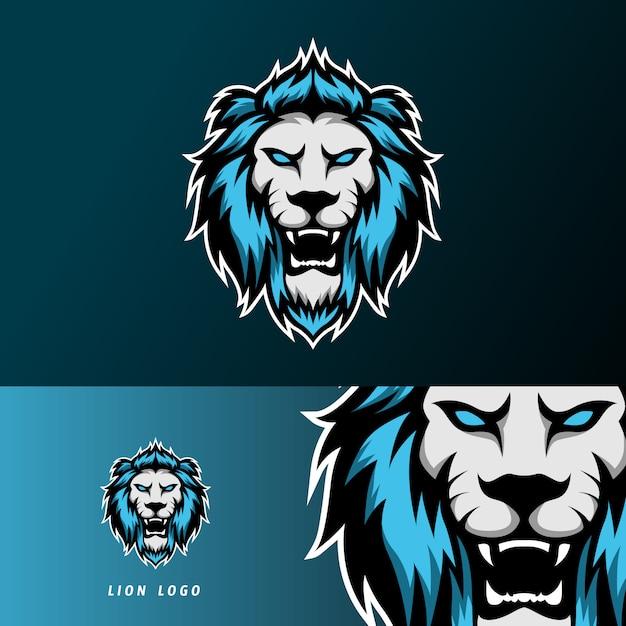 怒っているライオンジャガーマスコットスポーツeスポーツのロゴのテンプレート Premiumベクター
