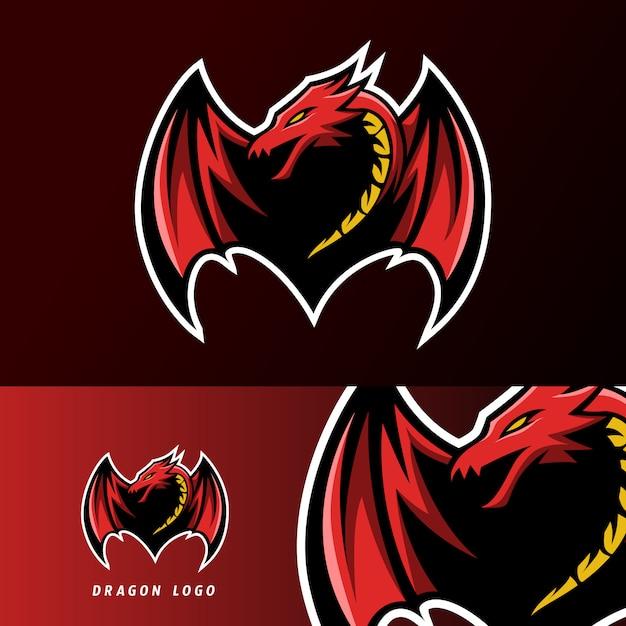 怒っている赤いフライドラゴンマスコットスポーツeスポーツのロゴのテンプレート Premiumベクター