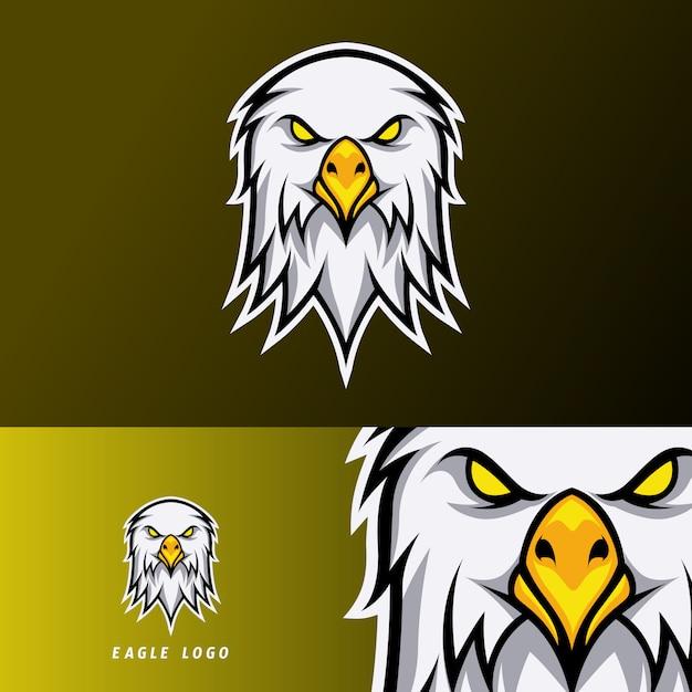 白い毛皮とオレンジのくちばしゲームイーグルスポーツeスポーツのロゴのテンプレート Premiumベクター