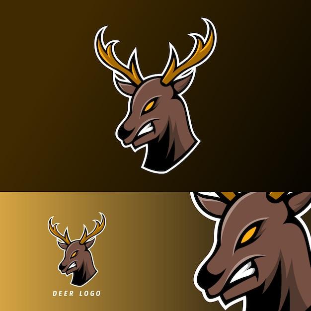 長い角を持つ怒っている鹿スポーツゲームeスポーツのロゴのテンプレート Premiumベクター