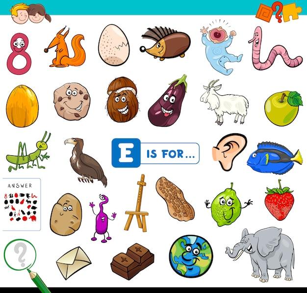 Eは子供向けの教育ゲームです Premiumベクター