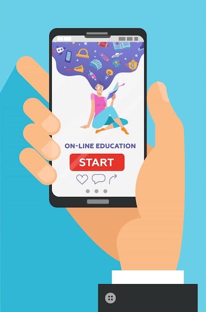 画面上の教育的なアプリで携帯電話を持っている男性の手。遠いeラーニング Premiumベクター