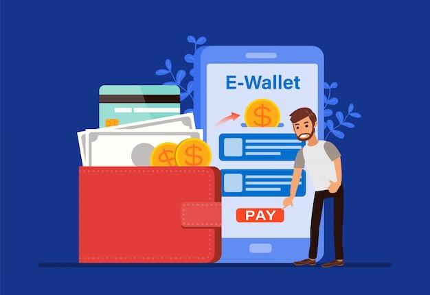 Eウォレットのコンセプト、人々の漫画のキャラクターがスマートフォンで支払いを行います。モバイルショッピングのお金の取引技術。フラットなデザインスタイルのイラスト。 Premiumベクター