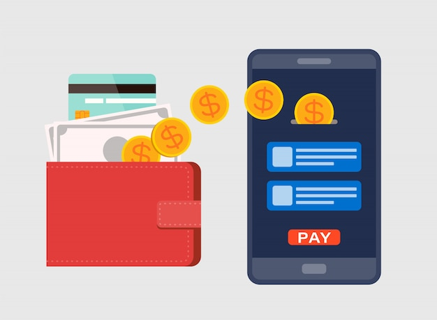 Eウォレット、デジタル通貨の概念。モバイルはスマートフォンで補充します。フラットなデザインスタイルのイラスト。 Premiumベクター