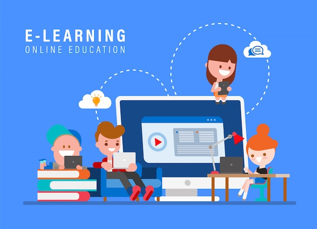 Eラーニングのオンライン教育の概念図。インターネット経由で自宅で勉強している子供たち。若い人たちはフラットなデザインスタイルのベクトル図で漫画します。 Premiumベクター