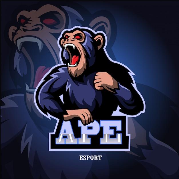 猿マスコットeスポーツのロゴ。 Premiumベクター