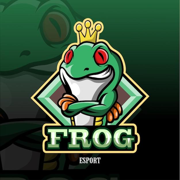 カエルのマスコットeスポーツのロゴ。 Premiumベクター
