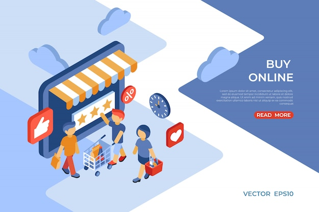 Eショップは、幸せな顧客とオンラインストア等尺性ランディングページを購入します Premiumベクター