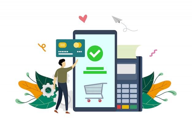 モバイル決済、eコマース市場ショッピングオンライン決済フラットイラストテンプレート Premiumベクター