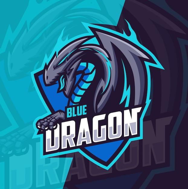 ブルードラゴンマスコットeスポーツのロゴ Premiumベクター
