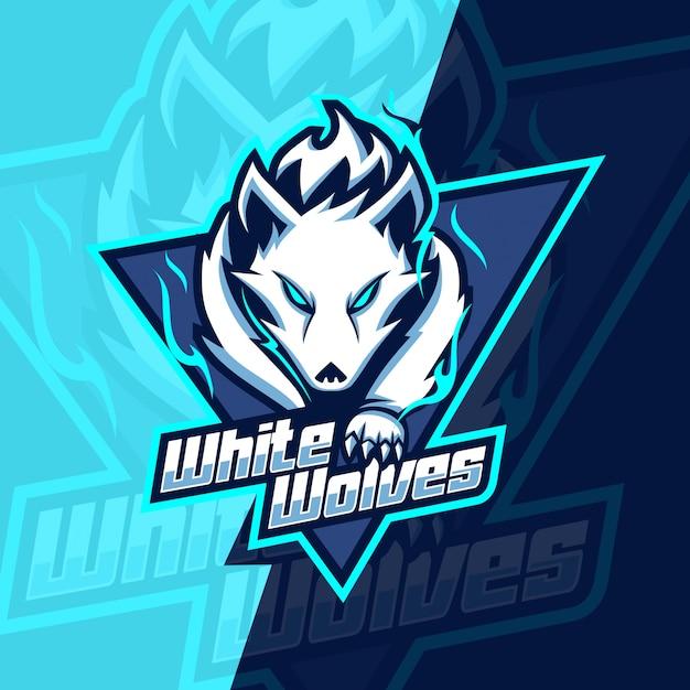 白いオオカミマスコットeスポーツのロゴデザイン Premiumベクター