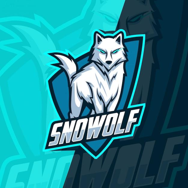 オオカミのオオカミマスコットeスポーツ Premiumベクター